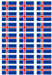 Iceland Flag Stickers - 21 per sheet